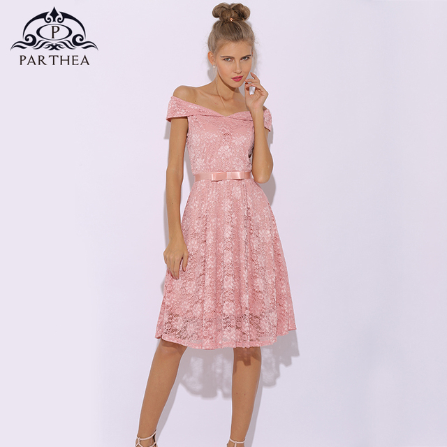 482a44f2a3c8 € 26.4 50% de DESCUENTO|Parthea Vintage vestido de encaje para mujer  elegante vestido rosa Floral Midi verano vestido de fiesta Sexy Vestidos  Skater ...