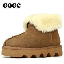 GOGC 2018 Snowshoes Women's Winter Boots with Wool Warmful Fur-Lined Ankle Boots for Women Genuine Leather Winter Shoes 9727(China)