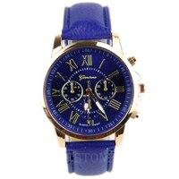 Fashion Women Geneva Stainless Steel Faux Leather Band Quartz Analog Wrist Watch