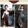 Saco Bolsas Das Senhoras da Marca do Estilo chinês Étnico Grande Flor Bordado Sacos Grandes Sacos Crossbody para As Mulheres Azul Denim Hobo Sacos