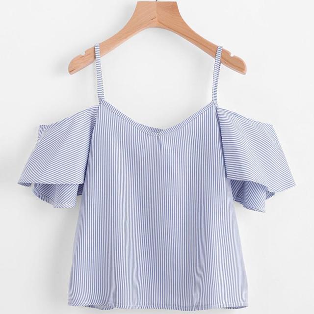 KVL 2018 נשים קיץ פסים חולצה קר כתף למעלה לקשור לצבוע מודפס שיפון אופנה מותג אפוד dropshipped יוני 7