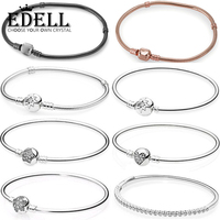 EDELL 100% 925 Sterling Silver Heart Shaped Basic Bracelet Snowflake Zircon Stars Ornaments Bracelet DIY Beaded Gift