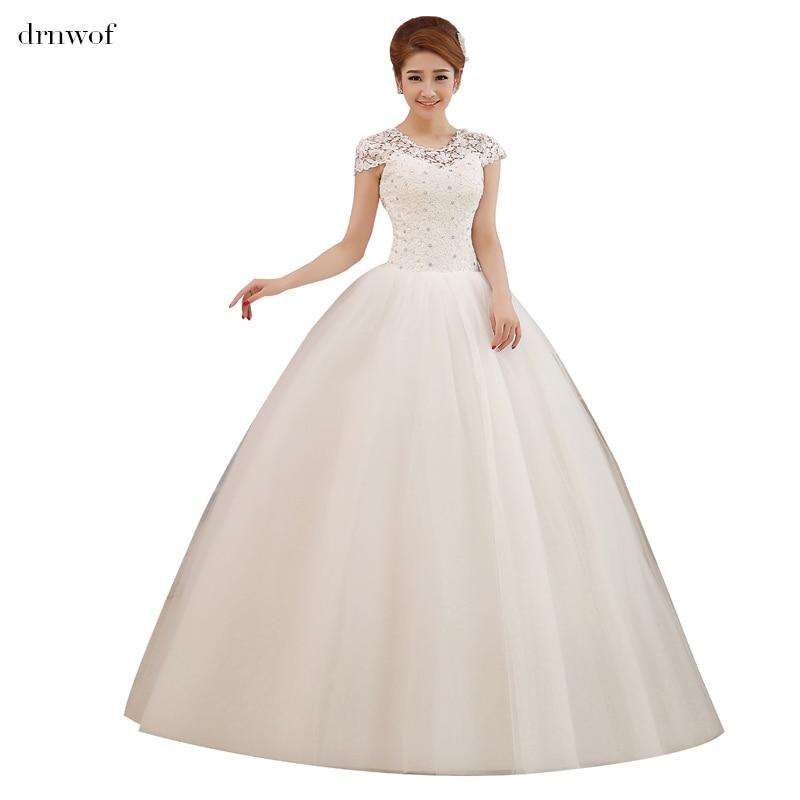 Cheap Wedding Dresses 2017 Lace Wedding Gowns Princess: Drnwof 2017 New Short Cap Sleeve Cheap Wedding Dresses
