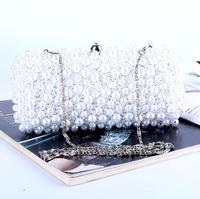 Pearl Beaded dinner bag Fashion handmade Beading Evening bags wholesale party purse Day clutches Chain should bags free shipping