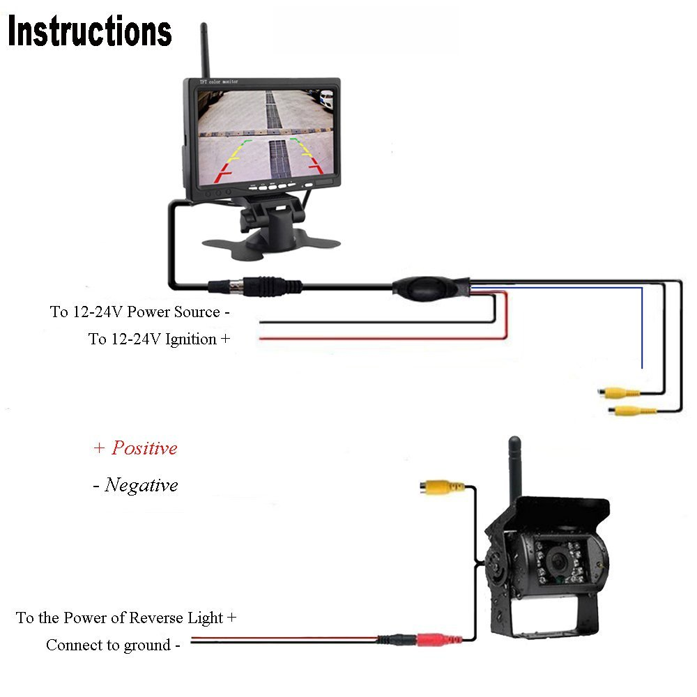 """Image 5 - Podofo Wireless Truck Vehicle Car Rear View Backup Camera 7"""" HD Monitor IR Night Vision Parking Assistance Waterproof for RV RC"""