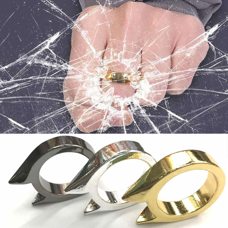 3Pcs Self-Defense Ring Women Men Safety Survival Tool Stainless Steel Finger Defense Ring Anti-wolf Self Protect Weapon Outdoor