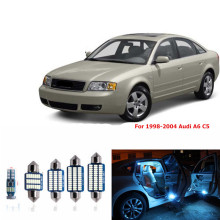 цены 1 set Canbus Car White LED Light Bulbs Interior Package Kit For 1998-2004 Audi A6 C5 Map Dome Glove Box License Plate Lamp blue
