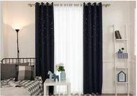 European luxury embroidered curtain cloth with tulle for living room Luxury cashmere stars curtains for bedroom