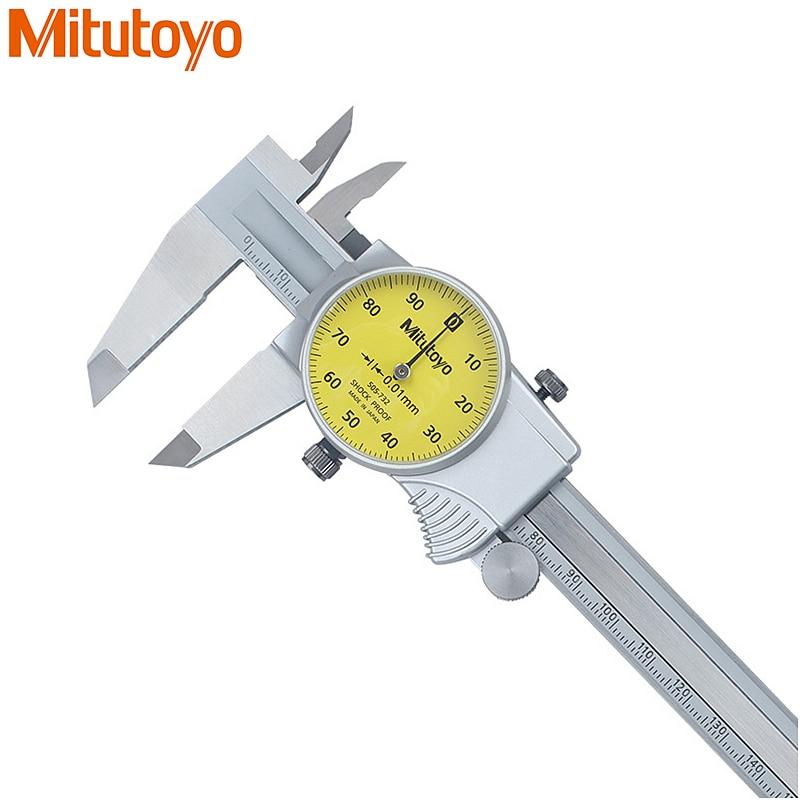 100 Original Mitutoyo 0 150mm 0 01 Dial Caliper 505 732 Stainless Steel Vernier Calipers Micrometer