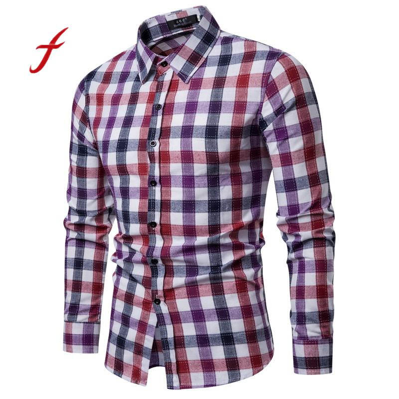 SHOWNO Mens Button Down Plaid Print Casual Cotton Easy-Care Flannel Checkered Shirt
