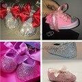 Пользовательские bling искра детские первые ходоки Вырос 3D 0-1Y принцесса ручной работы потрясающие Стразы обувь ярко-розовый бесплатная доставка в ВЕЛИКОБРИТАНИЮ