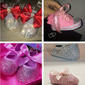 Custom bling sparkle baby first walkers Rose 3D 0-1Y princess handmade stunning Rhinestones shoes hot pink free delivery to UK