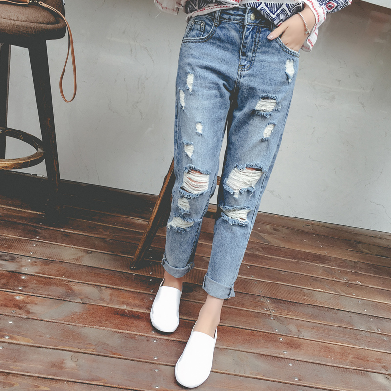 Jeans Woman Ripped Jeans Vintage Boyfriend Jeans With Holes Women Sexy Elasitc Waist Denim Femme Loose Straight Pants Plus Size Women's Clothing