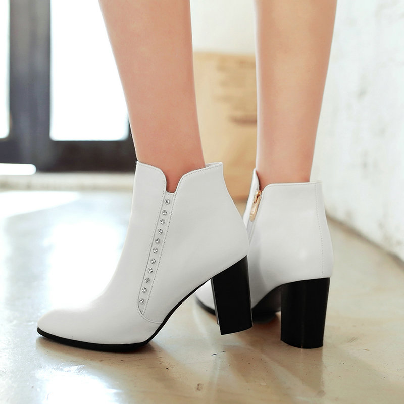 Women Boots Side Zipper Thick High Heel Ankle Boots Sexy Pointed Toe Autumn Winter Fashion Shoes Woman 2018 Black White Red