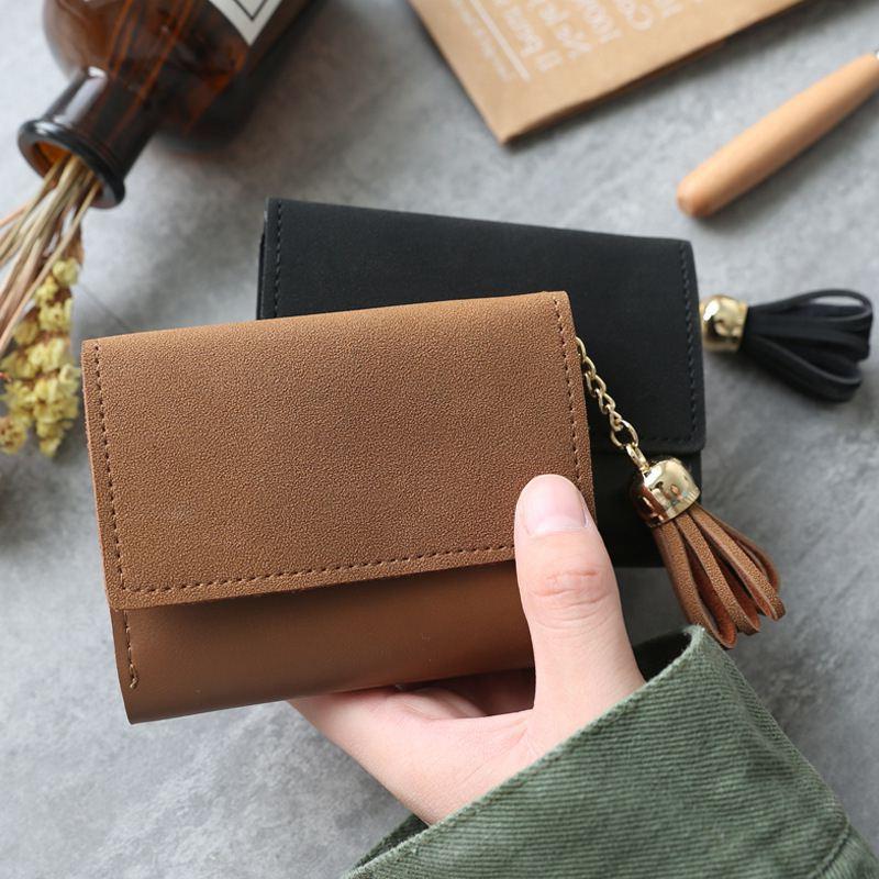 2018 mini women wallet organizer wallet travel Casual Clutch Tassel matte portefeuille femme cuir Slim carteira feminina wallets 2