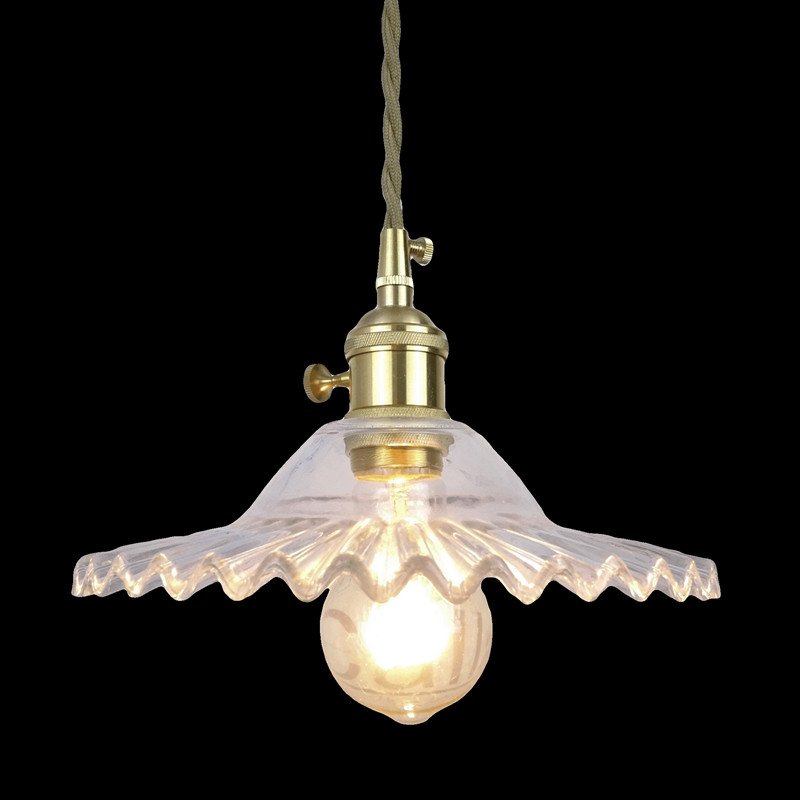 E27 brass material socket+D220mm clear glass shade+fabric twisted wire cord+brass material ceiling plate 100% brass pendant lamp