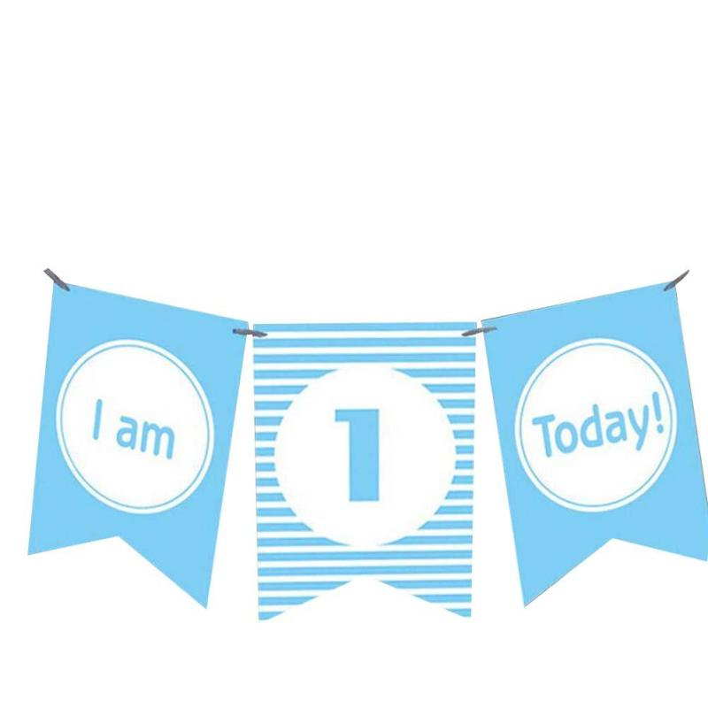 1 Set I am 1 Today Banner Paper Lovely Birthday Bunting Eén jaar - Feestversiering en feestartikelen