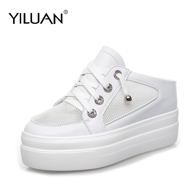 2020 summer Hollow Leather white slippers Cross tied women's shoes Mesh Flat Small size 32-40 Flat Platform Casual Shoes woman