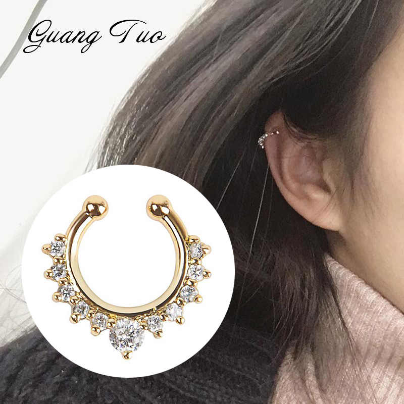 Vintage Clip on Earrings Crystal Ear Cuff Non Pierced Earrings Nose Ring New Fashion Women Earrings punk rock earcuff brincos