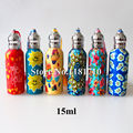 20pcs/lot 15ml Perfume Vials with Roll-on Ball Perfume Roll on Polymer Clay Bottle Empty Essential Oil Bottle