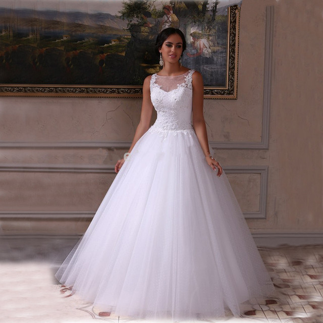 Wedding Dress Weeding Western Country White Beach Scoop Appliqued ...