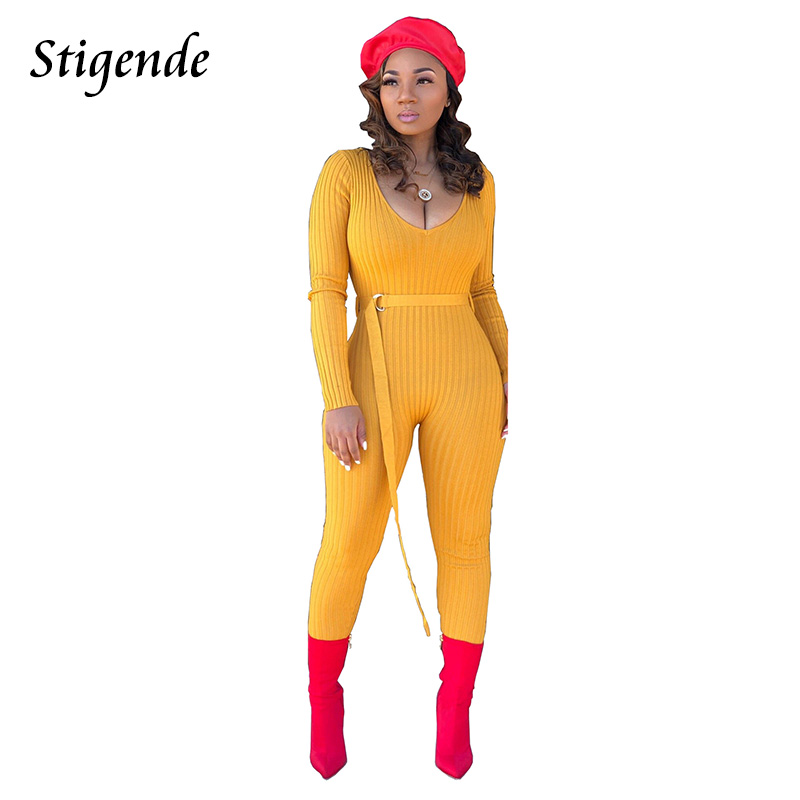 Stigende Fashion Women Sexy V Neck Bodycon Knitted Jumpsuit Long Sleeve One Piece Casual Jumpsuit Ribbed Belt Plain Jumpsuit