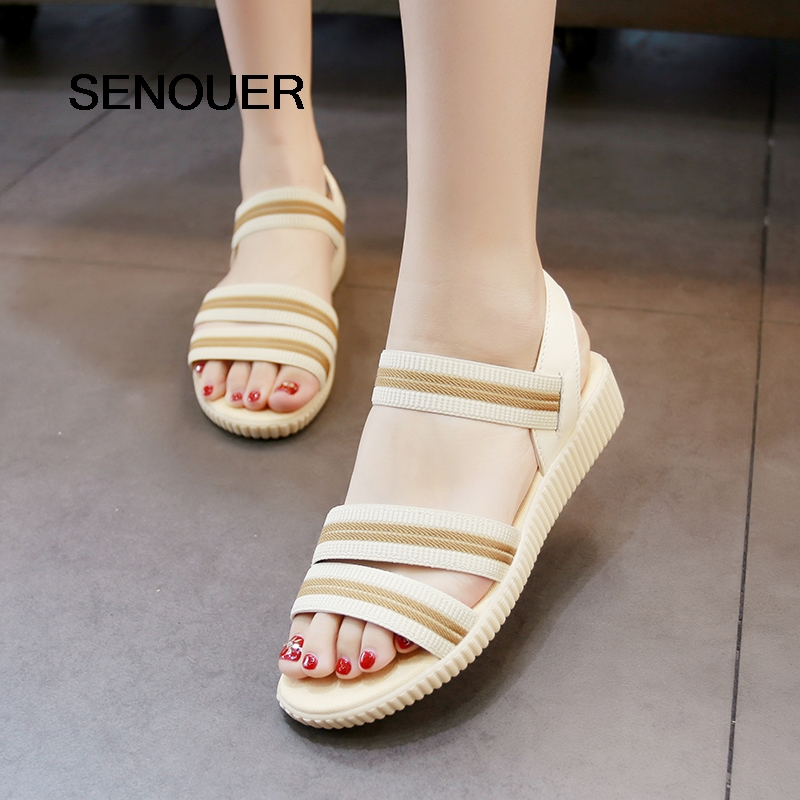 SENOUER Women Sandals Flat With Elastic Band Stripe Fashion Beach Sandals Round Toe Women Casual Shoes Open Women Shoes Beige 41 fongimic summer women flat shoes comfortable casual all match beach sandals high quality girl beach flowers elastic band sandals