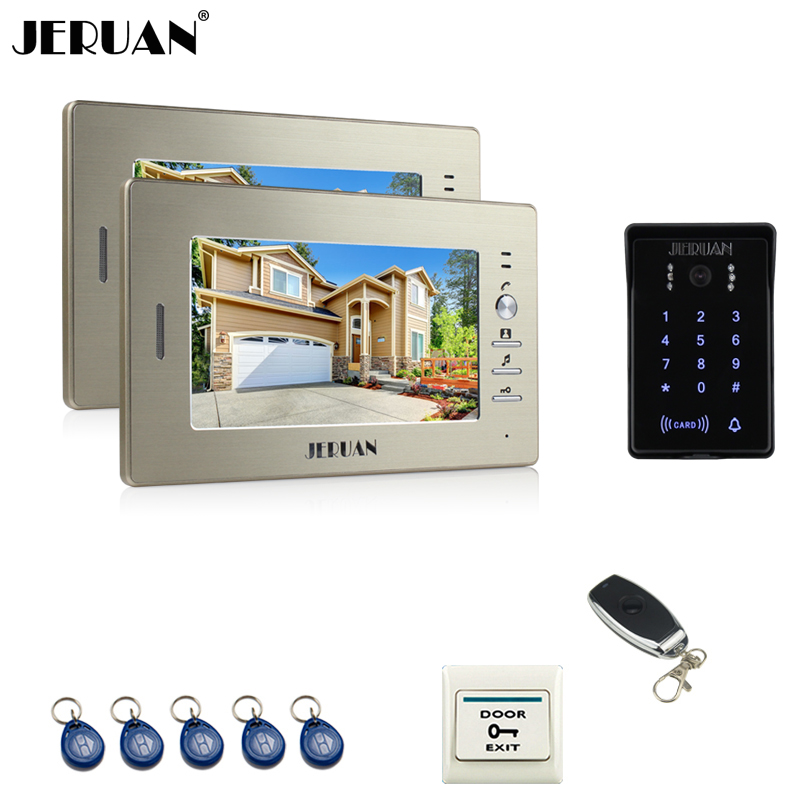 JERUAN 7`` LCD video doorphone intercom system 2 monitor RFID waterproof Touch Key password keypad camera + remote control rfid keyboard ip65 waterproof video doorphone intercom system for 3 apartments with 7 color lcd video intercom system in stock
