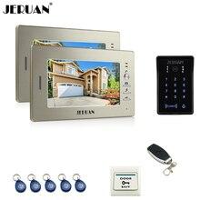 "JERUAN 7"" LCD video doorphone intercom system 2 monitor RFID waterproof Touch Key password keypad camera + remote control"