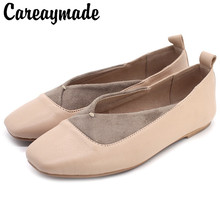 Careaymade-Real leather sheepskin hand-made retro shallow-mouthed grandmother shoes literary and artistic leisure womens