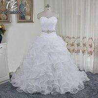 Pannello Esterno increspato Organza Abito Da Sposa con Abbellito Bordare Vita SWG492 Perline Sash Abiti Da Sposa vestidos noiva