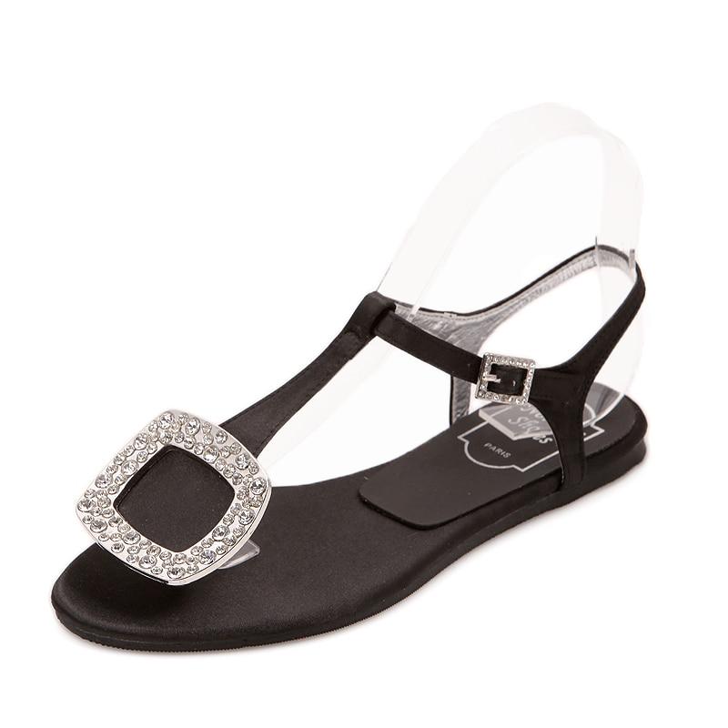 1a87106da618f5 Summer 2018 Luxury Women Beach Rhinestone Sandals Plus Size Low ...