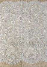 1 Yard Exquisite Circular Beaded Off White Tulle Embroiered Lace Fabric by for Couture Gown Bridal Dress Haute