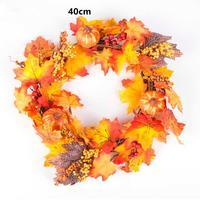 40cm Pumpkin Berry Maple Leaf Fall Door Wreath Door Wall Ornament Thanksgiving Day