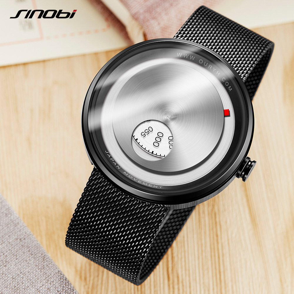 Gift SINOBI Golden Geek Watches Mens Creative Fashion Wrist Watches Rotate Plate Dial with Milan Strap Relogio Man's Japan Movt 4
