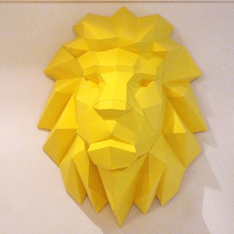 3D Paper Model Lion Head Papercraft Animal Home Decor Wall Decoration Puzzles Educational DIY Toys Birthday Gift For Children