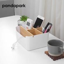 Pandapark Modern Simple Bamboo Storage Box Multi - Functional 5 Grid Desktop Organizer Remote Controller Cosmetic Boxes