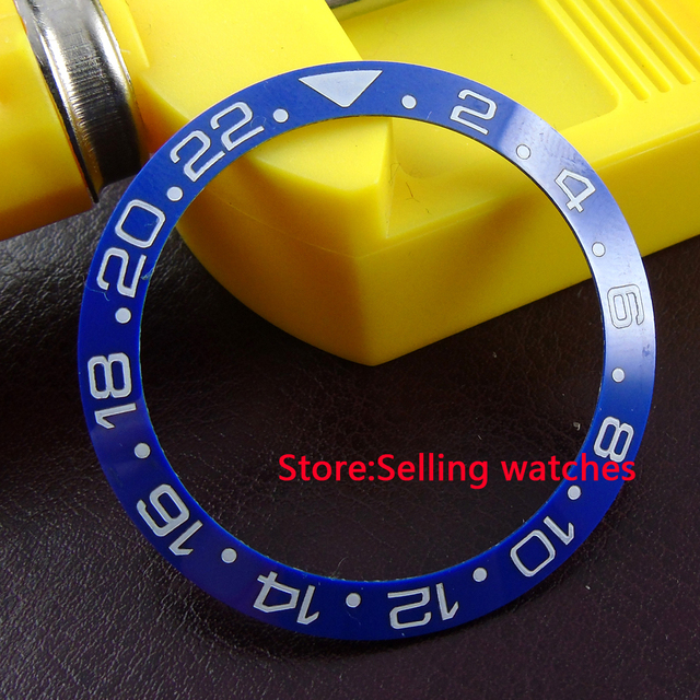 39.8mm parnis azul painel de cerâmica para inserir 43mm sub GMT mens watch