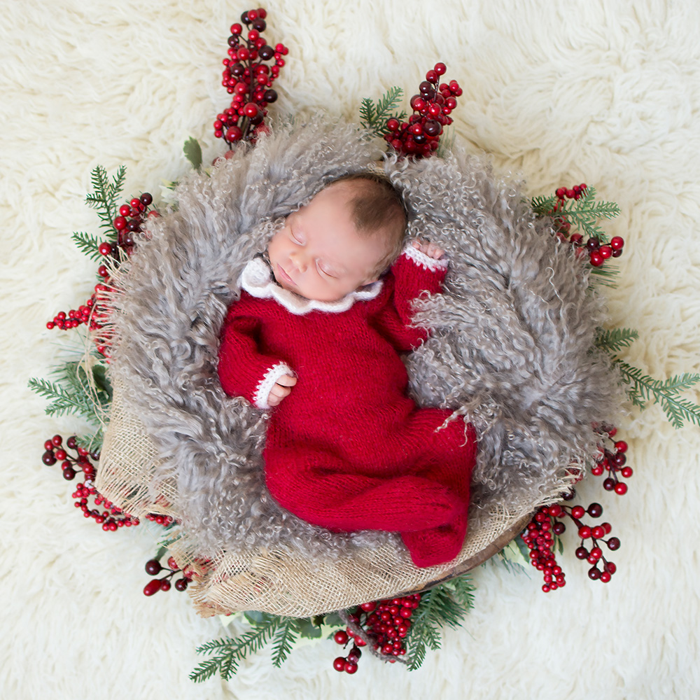 New arrival baby girls red rompers one pieces for christmas newborn photography shoot infant photo clothes props full sleeves