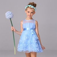 2016 New Style Floral Dress For Kid Girl Bow Ribbons Ball Gown Wedding Dress Pretty Child