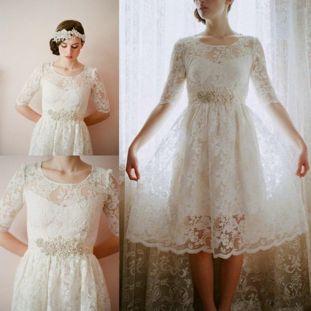 2019 A Line Scoop Half Sleeve White Lace Knee Length Wedding Gowns Vestido De Casamento Custom Cheap Short Wedding Dresses