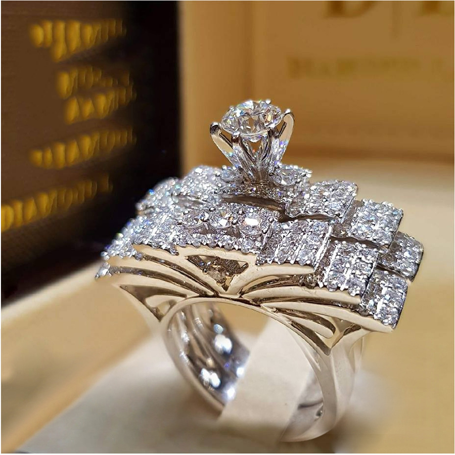 T-Ring Fashion Luxruy White Zircon Silver Color Ring Set Jewelry for Women Wedding Engagement Rings