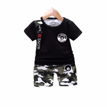 2019 Summer Newborn Baby Boy Toddler Clothes Sets T- Shirt Casual Camouflage Tops Pants 2Pcs/sets Cotton Kids Outfits Clothing 2017 summer toddler kids baby girls cotton outfits clothes short sleeve t shirt tops pants 2pcs children sets