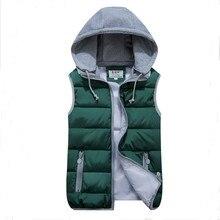 Женская куртка-жилет со съемным капюшоном размера плюс, приталенный теплый утепленный жилет со стоячим воротником на осень и зиму, плюс куртка, пальто, жилеты для девочек