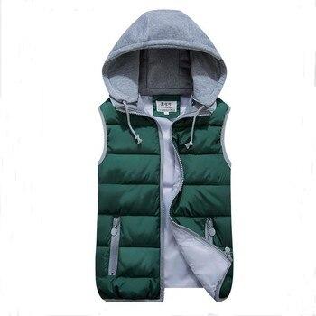 Grande taille fille chapeau détachable Gilet veste mince col montant automne et hiver chaud épaissir Gilet Plus veste manteau gilets pour femme