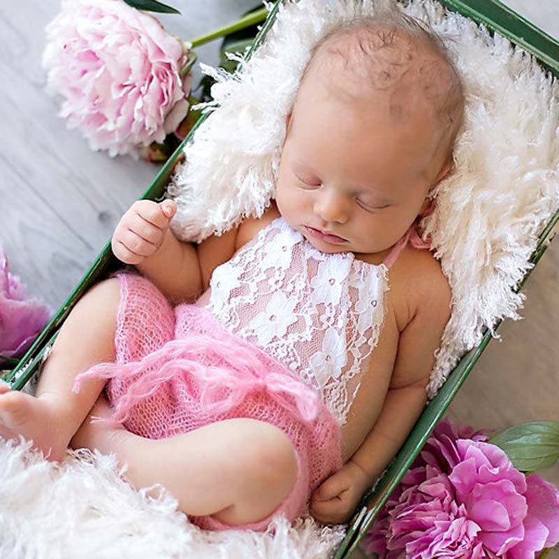 Lace Front Mohair Knit Romper Newborn Photography Prop Super Soft Newborn Lace Romper Baby Photo Props Shower Gift H276 newborn baby photography props infant knit crochet costume peacock photo prop costume headband hat clothes set baby shower gift