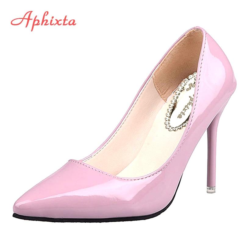 Aphixta Nude Shoes Pumps Red Thin Heels Wedding-Party 12cm Us-Size Woman Super Black