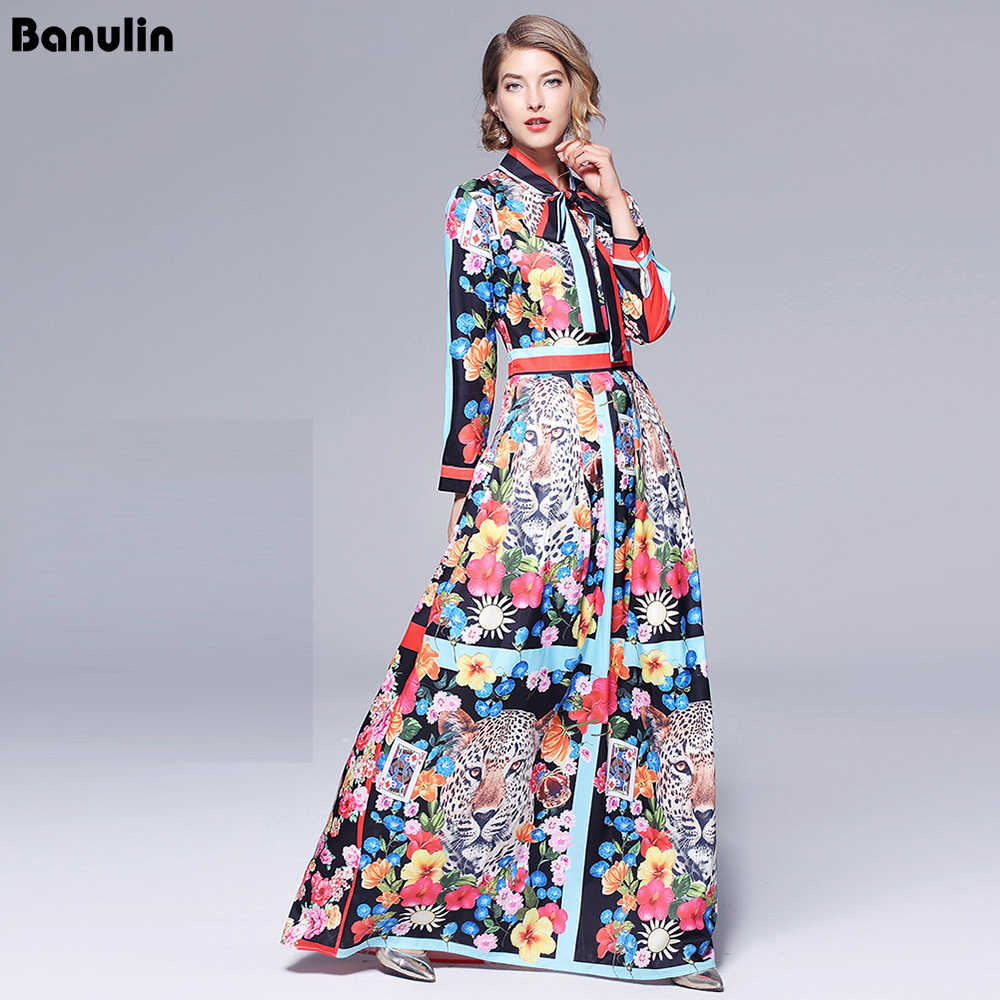 3ffbfac0c688 Runway Dresses 2018 Women High Quality Bow Neck Vintage Animal Print Party Dresses  Designer Long Maxi