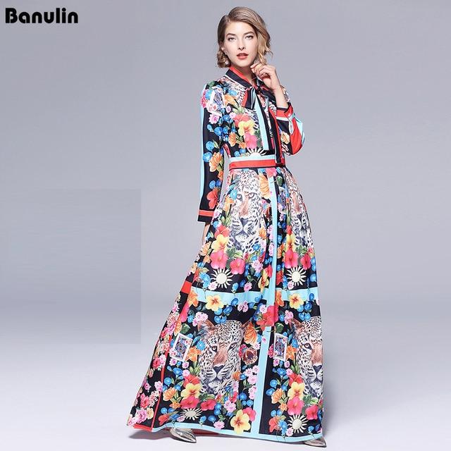 활주로 맥시 드레스 2019 여성 고품질의 활 목 빈티지 동물 인쇄 층 길이 긴 파티 드레스 vestidos 가운 femme