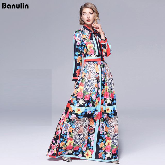 Runway Dresses 2018 Women High Quality Bow Neck Vintage Animal Print Party  Dresses Designer Long Maxi Dress Vestidps Robe Femme 3530a9dff7c1
